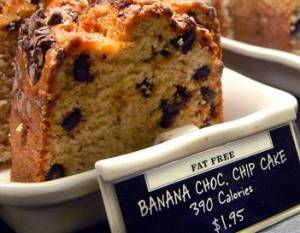 "Although labelled""fat free,"" a slice of banana chocolate chip cake at Starbucks has 390 calories((MSNBC pic)"