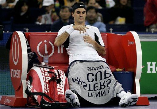 Federer at rest - spot the banana?